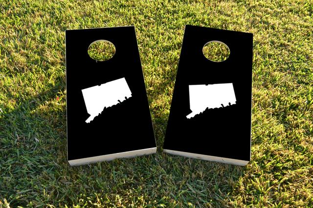 Black Connecticut Themed Custom Cornhole Board Design