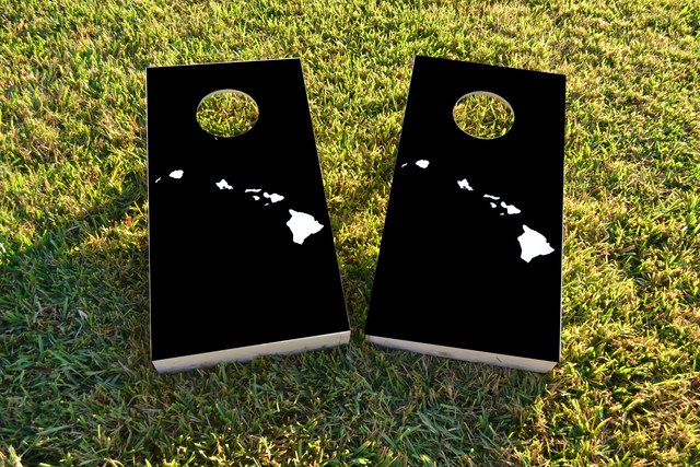 Black Hawaii Themed Custom Cornhole Board Design