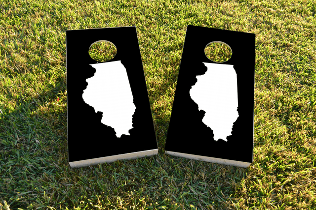 Black Illinois Themed Custom Cornhole Board Design