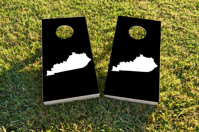 Black Kentucky Themed Custom Cornhole Board Design