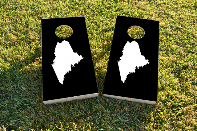 Black Maine Themed Custom Cornhole Board Design