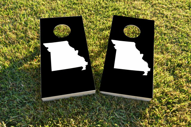 Black Missouri Themed Custom Cornhole Board Design