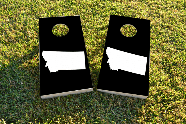Black Montana Themed Custom Cornhole Board Design