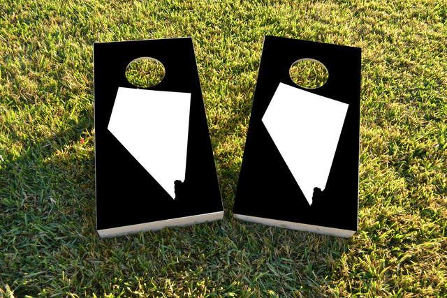 Black Nevada Themed Custom Cornhole Board Design