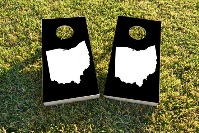 Black Ohio Themed Custom Cornhole Board Design