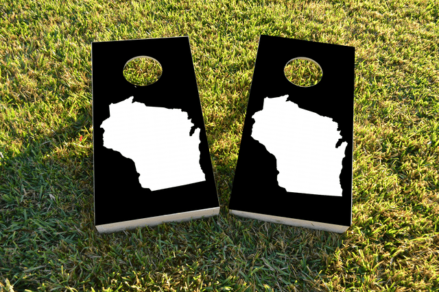 Black Wisconsin Themed Custom Cornhole Board Design