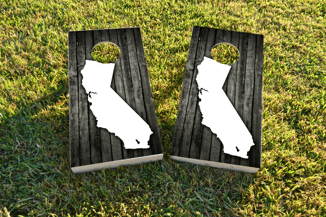 Wood Slat (California) Themed Custom Cornhole Board Design