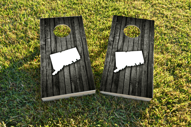 Wood Slat (Connecticut) Themed Custom Cornhole Board Design