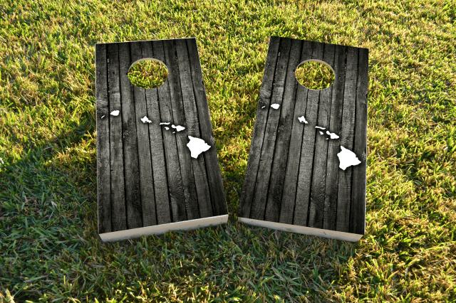 Wood Slate (Hawaii) Themed Custom Cornhole Board Design