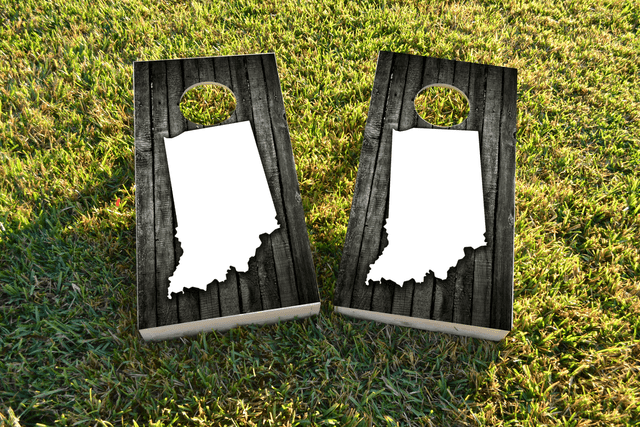 Wood Slat (Indiana) Themed Custom Cornhole Board Design