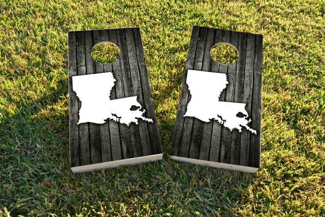 Wood Slat State (Louisiana) Themed Custom Cornhole Board Design