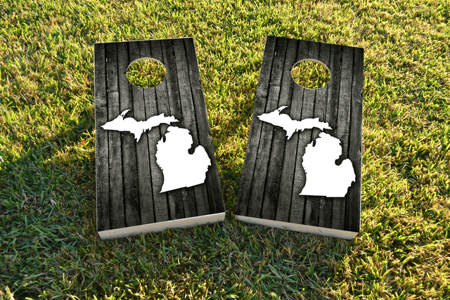 Wood Slat State (Michigan) Themed Custom Cornhole Board Design