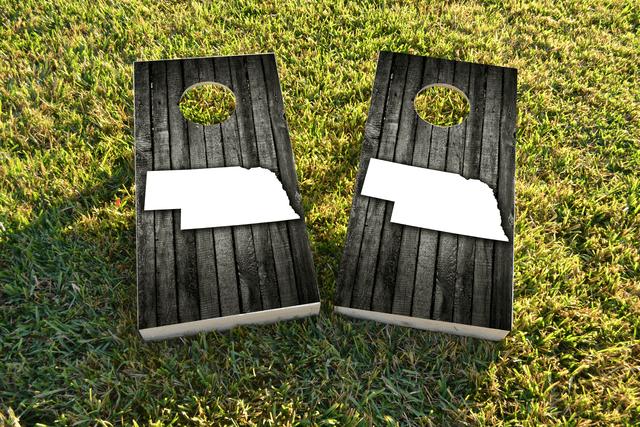 Wood Slat State (Nebraska) Themed Custom Cornhole Board Design