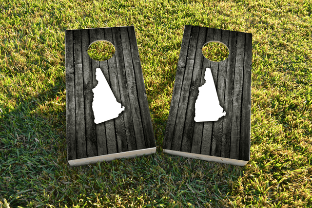 Wood Slat State (New Hampshire) Themed Custom Cornhole Board Design