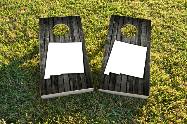 Wood Slat State (New Mexico) Themed Custom Cornhole Board Design
