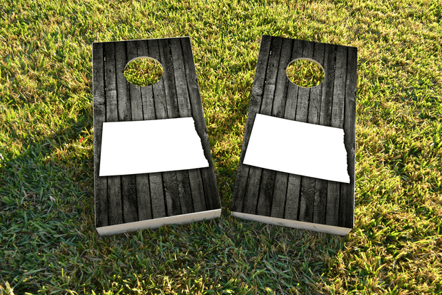Wood Slat State (North Dakota) Themed Custom Cornhole Board Design