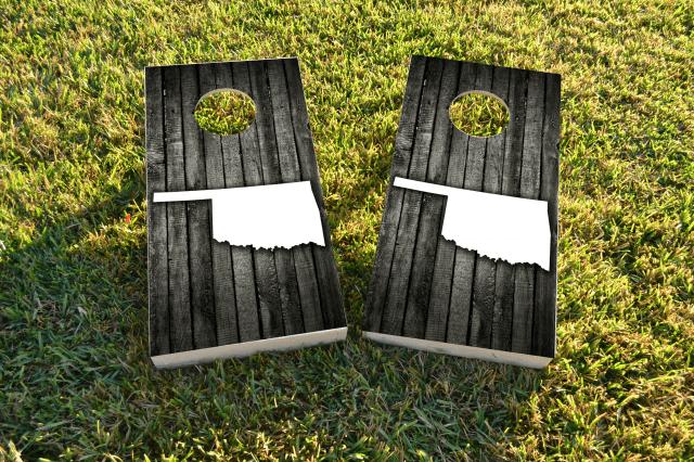 Wood Slat State (Oklahoma) Themed Custom Cornhole Board Design