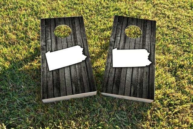 Wood Slat State (Pennsylvania) Themed Custom Cornhole Board Design