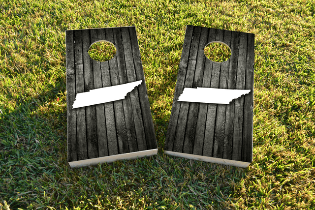 Wood Slat State (Tennessee) Themed Custom Cornhole Board Design