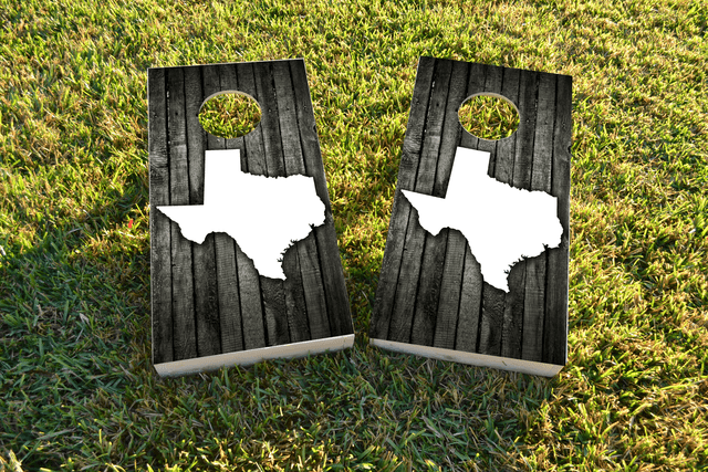 Wood Slat State (Texas) Themed Custom Cornhole Board Design