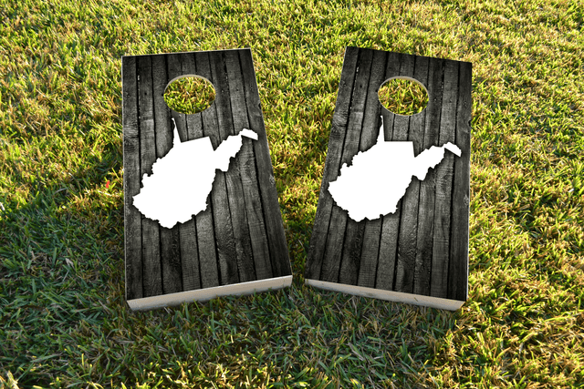 Wood Slat State (West Virginia) Themed Custom Cornhole Board Design