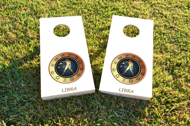 Zodiac White (Libra) Themed Custom Cornhole Board Design