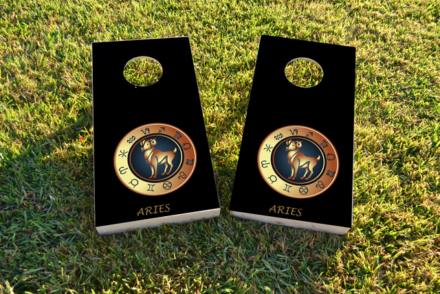 Zodiac Black (Aries) Themed Custom Cornhole Board Design