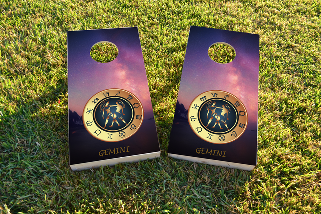 Zodiac Stars (Gemini) Themed Custom Cornhole Board Design