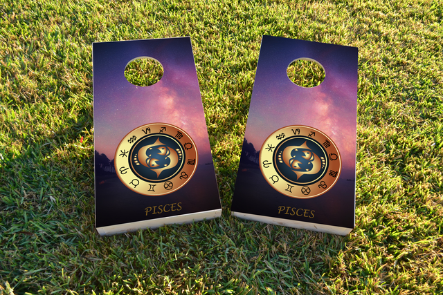 Zodiac Stars (Pisces) Themed Custom Cornhole Board Design