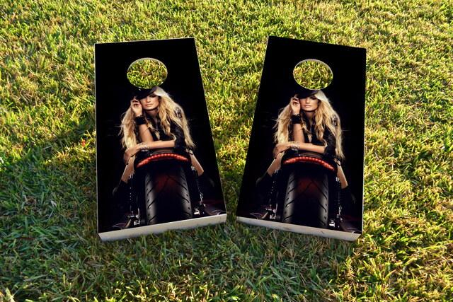Motorcycle Model Themed Custom Cornhole Board Design