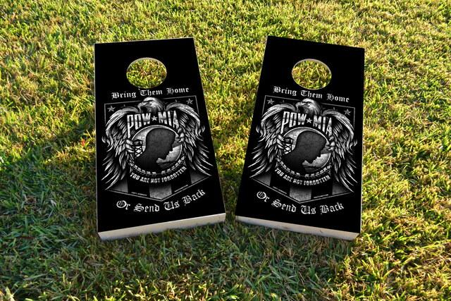 Pow Mia Themed Custom Cornhole Board Design