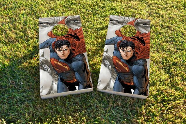 Superman Cartoon Themed Custom Cornhole Board Design
