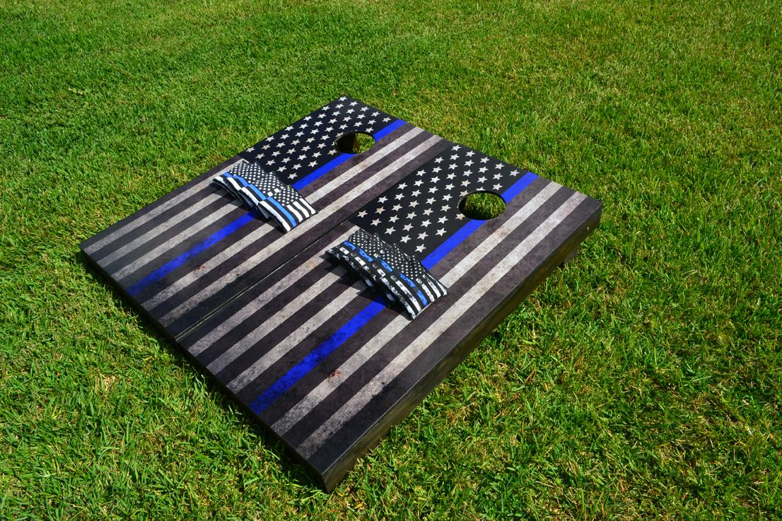 American Flag Thin Blue Line Cornhole Boards Image 1