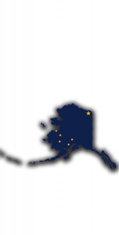 Alaska State Flag Outline (White Background) Themed Custom Cornhole Board Design