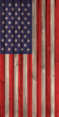 American Flag Wood Slat Themed Custom Cornhole Board Design