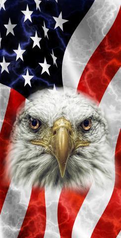 American Flag Bald Eagle Themed Custom Cornhole Board Design
