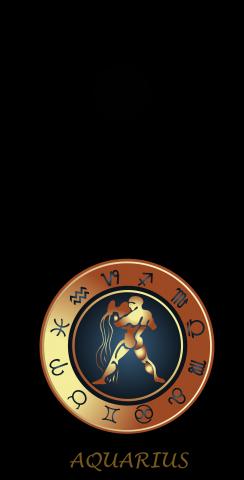 Zodiac Black (Aquarius) Themed Custom Cornhole Board Design