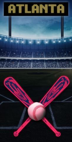 Atlanta Baseball Themed Custom Cornhole Board Design