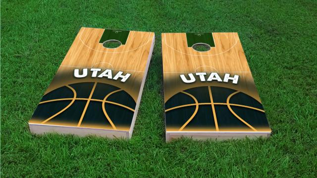 Basketball Utah Themed Custom Cornhole Board Design