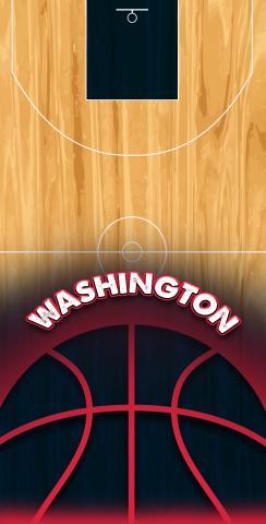 Basketball Washington Themed Custom Cornhole Board Design