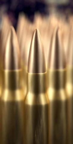 Brass Ammunition Themed Custom Cornhole Board Design