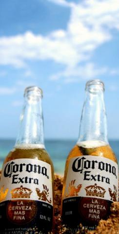 Corona Bottles by the Beach Themed Custom Cornhole Board Design