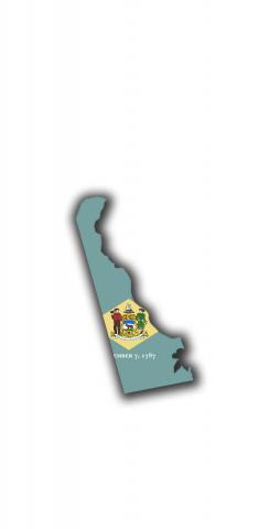 Delaware State Flag Outline (White Background) Themed Custom Cornhole Board Design