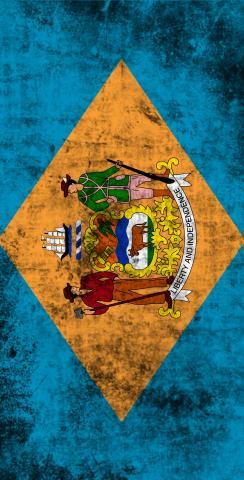 Worn State (Delaware) Flag Themed Custom Cornhole Board Design