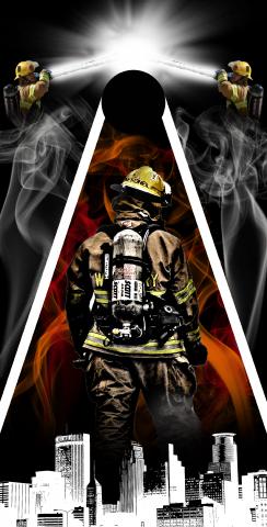Firefighter City Scape Themed Custom Cornhole Board Design