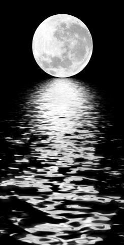 Full Moon Over The Water Themed Custom Cornhole Board Design