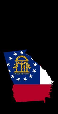 Georgia State Flag Outline (Black Background) Themed Custom Cornhole Board Design