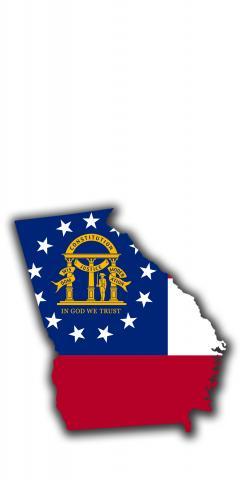 Georgia State Flag Outline (White Background) Themed Custom Cornhole Board Design
