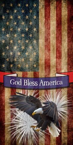 Bald Eagle - God Bless America Themed Custom Cornhole Board Design
