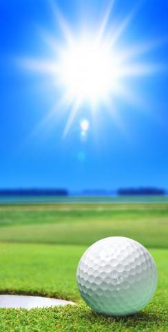 Golfing on a Sunny Day Themed Custom Cornhole Board Design